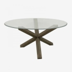 Made Ile Table oval verre bois 2341313 QQ - 160x105x76cm